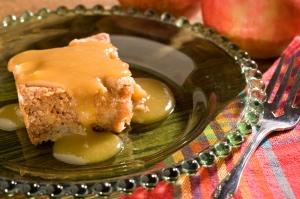 Heart Healthy Apple Cake with Caramel Sauce